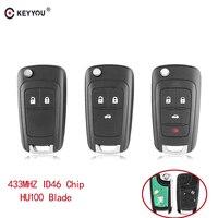 KEYYOU Remote Key Car Alarm For Chevrolet Cruze Malibu Aveo Spark Sail 2/3/4 Buttons 433MHz Fob ID46 Chip With HU100 Blade|Car Key|Automobiles & Motorcycles -