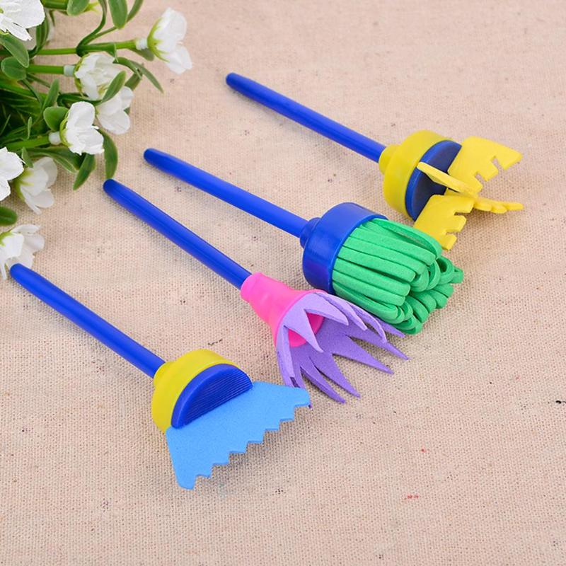 Dependable 4pcs/set Rotate Spin Sponge Painting Brushes Kids Children Flower Graffiti Art Drawing Painting Toys School Stationery Supplies Excellent In Cushion Effect Painting Supplies