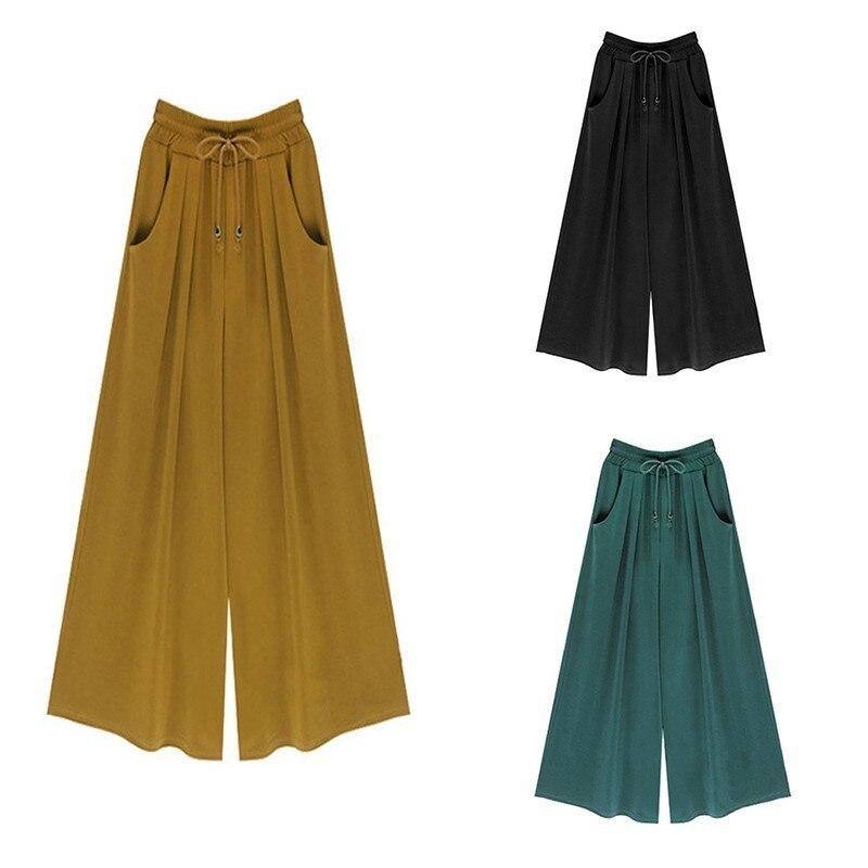 2019 Fashion Solid Color Wide Leg Haren Nine Part Will Code Leisure Time All-match Women   Pants     Capris   Pantalon Femme Cotton Hot