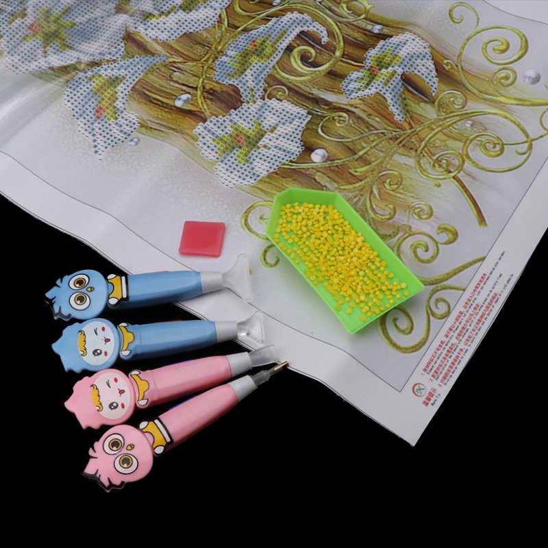 Новый милый бриллиант картина дрель светодиодный Ручка со светом крестиком Мозаика вышитая картина набор инструментов ручка Клей Пластиковый Лоток Набор