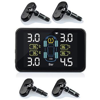 Sensores externos integrados TPMS carga Solar unidad de presión de temperatura ajustable de potencia automática con 4 sensores para todos los coches