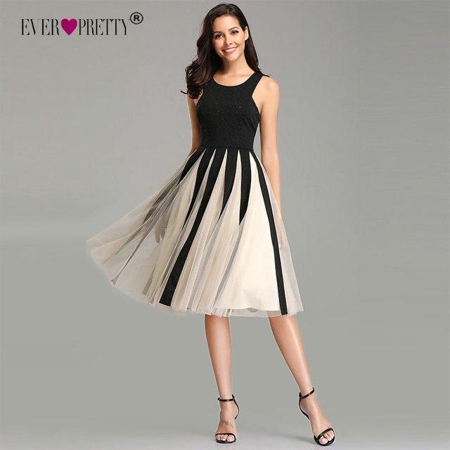 Ever Pretty Cocktail Dresses 2019 A-line Sleeveless V-neck Tulle Elegant Formal Party Gowns EZ03075BK Knee-Length Robe Cocktail Cocktail Dresses