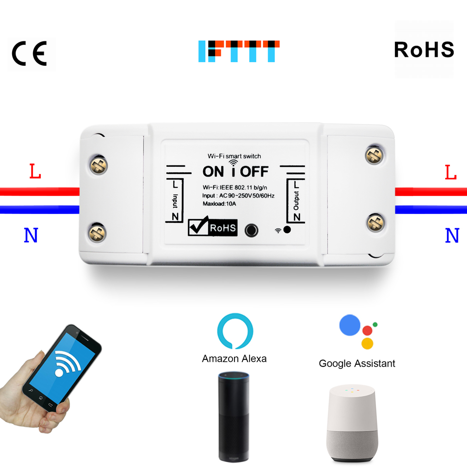 2.4G Wifi Switch DIY Wireless Remote Domotica Light Smart Home Automation Relay Module Controller Work with Alexa2.4G Wifi Switch DIY Wireless Remote Domotica Light Smart Home Automation Relay Module Controller Work with Alexa