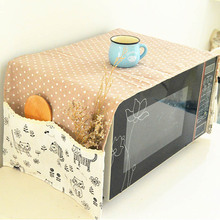 Double Pockets  Waterproof  Printed Cotton Linen Fabric Microwave Oven Dust Cover