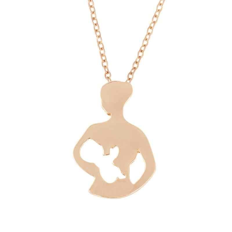 Colgante de Regalo para mamá colgante collar de plata dorada mamá familia joyería de moda mujer ahuecado lactancia collar