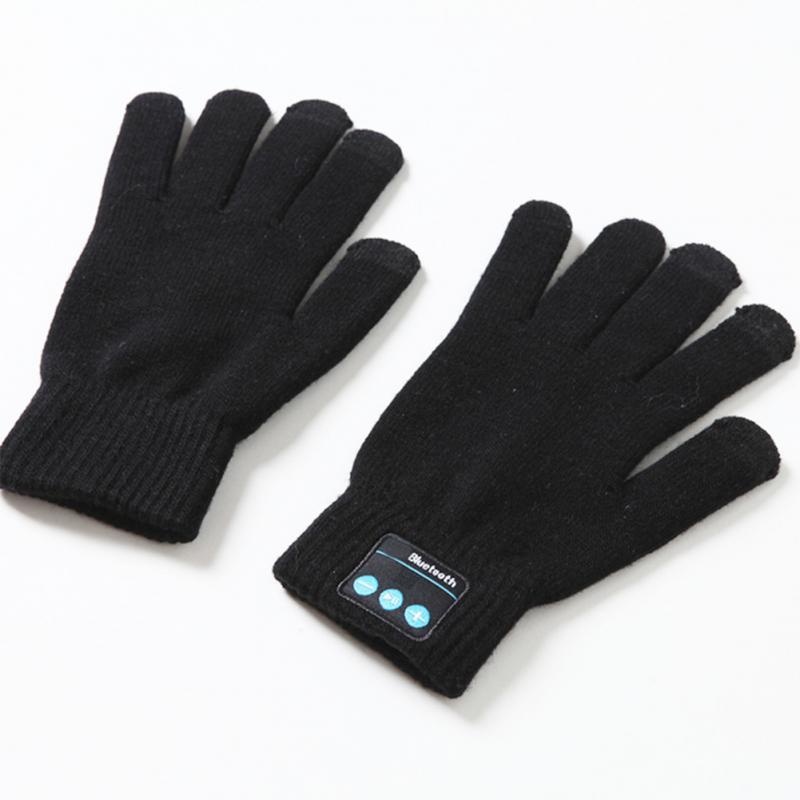 1Pair Women Men Gloves Bluetooth Finger Sensor Built-in Speaker/Microphone Gloves Unisex Autumn Winter Warm Knit Gloves #2