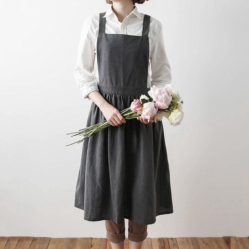 Aprons Simple Washed Cotton Uniform Adult Aprons for Woman Lady's Kitchen Cooking Gardening Coffee Shop Charcoal grey Aprons     - title=