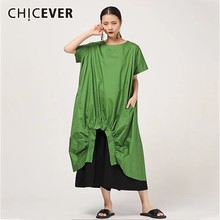 CHICEVER Summer Casual Solid Women Dress O Neck Short Sleeve Draped Split Hem Loose Plus Size Mid Calf Female Dresses 2020 New