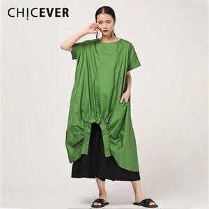Image 1 - Женское Повседневное платье CHICEVER, однотонное свободное платье до середины икры с круглым вырезом, коротким рукавом, драпировкой и разрезом на подоле размера плюс, новинка 2020