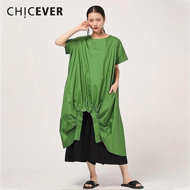 Женское Повседневное платье CHICEVER, однотонное свободное платье до середины икры с круглым вырезом, коротким рукавом, драпировкой и разрезом на подоле размера плюс, новинка 2020
