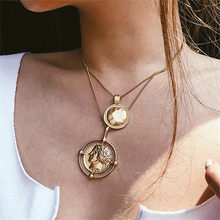 Round Coin Necklaces For Women Jewelry Silver Pendants Necklace For Women Portrait Charm Necklaces Dainty Layering Female Gifts(China)