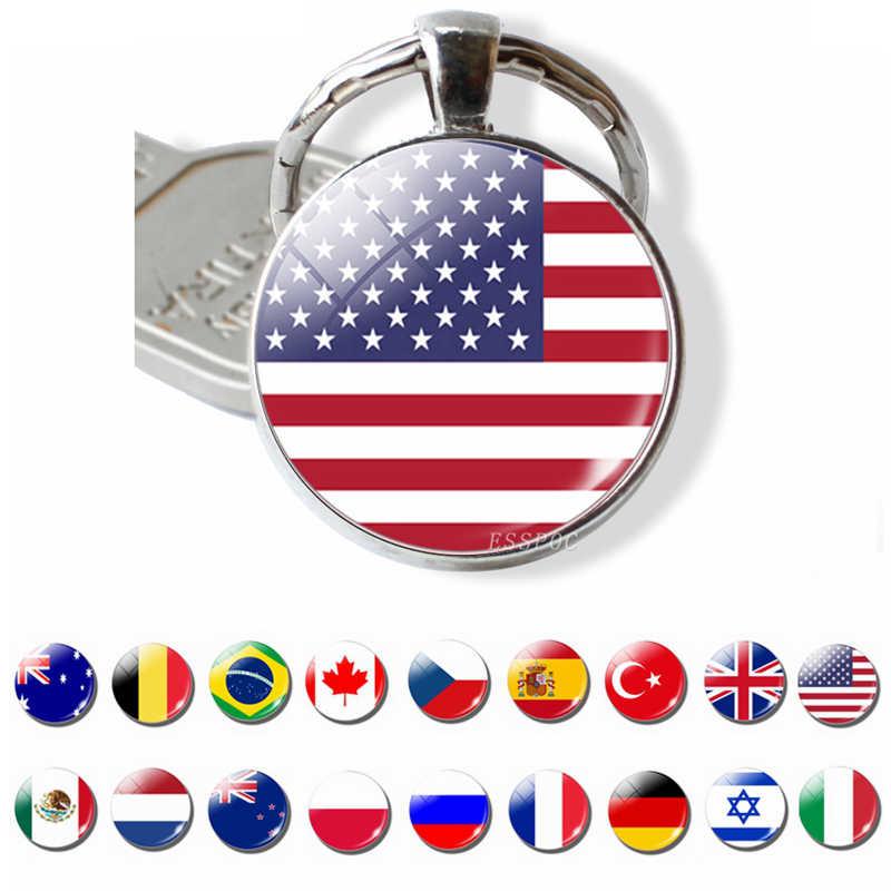 Quốc Kỳ MỸ ANH Nga Tây Ban Nha Móc Khóa Kính Cabochon Trang Sức Dây Chuyền Chìa Khóa Nhẫn Nam Nữ Mặt Dây Chuyền Nhà Yêu Nước Lưu Niệm Quà Tặng