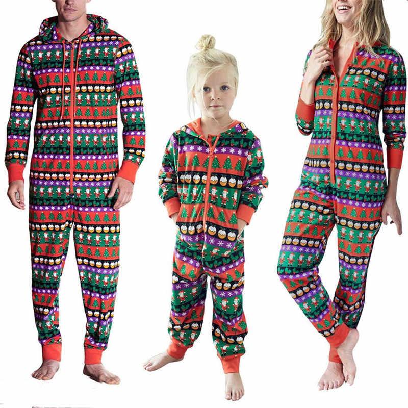 Family Christmas Pajamas 2019.Family Christmas Pajamas 2019 Newest Xmas Mother Daughter Father Son Hooded Jumpsuit Christmas Family Pajamas New Year S Costume