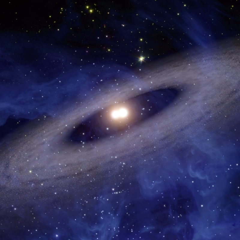 A faraway solar system where planets and asteroids circle ...