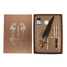 Feather Pen Writing Ink Set with ink bottle+ 5pcs nips + kraft letter paper + Ealing Wax Stamp + 3pcs Sealing Wax+Sealing Spoon