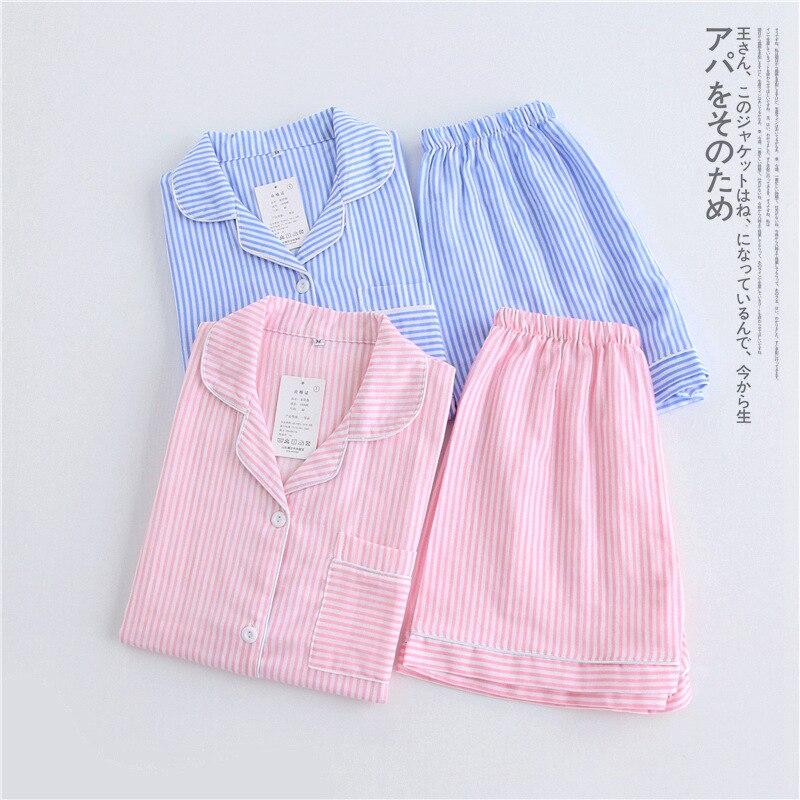 Women's Korean Fresh Striped   Pajamas   Summer 100% Cotton Gauze Short-sleeved   Pajama     Set   Thin Sexy Pijama Mujer Loungewear Pyjamas