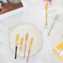 304 Stainless Steel Butter Knife Cheese Dessert Jam Spreaders Cream Gold Black Rose Knifes Western Cutlery Breakfast Tool