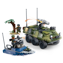 hot LegoINGlys military WW2 army Speedboat amphibious vehicle Beach landing war Building Blocks soldier figures bricks toys gift