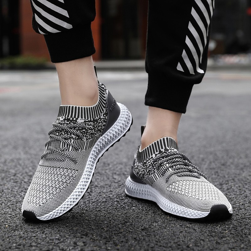 Men Sock Running Shoes Breathable Air Mesh Sport Shoes Flywire Durable Sport Shoes Jogging Fitness Footwear 2019 Casual Sneakers