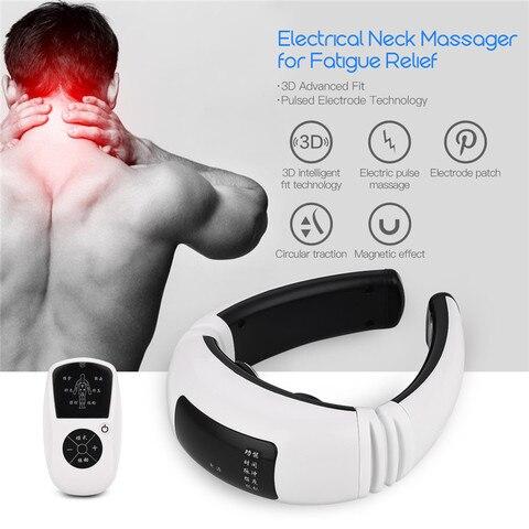 controle remoto eletrica pescoco massageador sem fio cervical vertebra ombro almofada de pulso massageador amassar