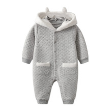 Baby Boy Winter Clothes Hooded Romper Outfit Toddler Infant Warm Jumpsuit Costume gemtot infant baby clothing romper toddler warm crawling clothes baby autumn and winter to go out wearing