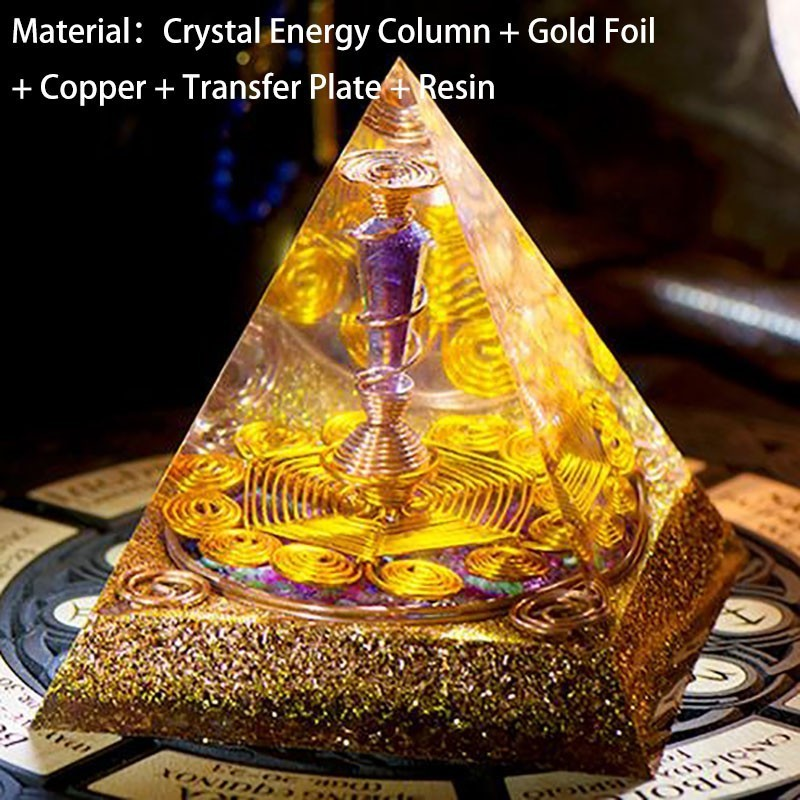 AURA REIKI Increase Wealth Orgonite Energy Converter Crystal Pyramid Magic Reiki Ceremony Resin Decorative Craft Jewelry Gift