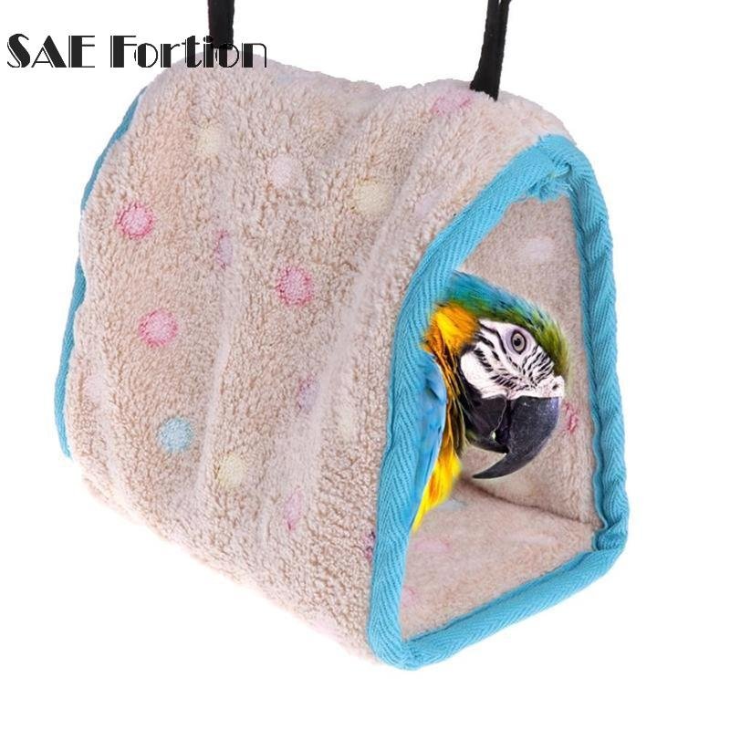 3size Soft Plush Bird Parrot Warm Hut Hammock Warm Hanging Bed For Pet Cave Cage Hut Tent Toy Dot Decoration House High Quality Bird Supplies Bird Cages & Nests