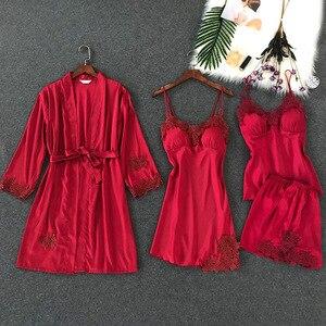 Image 4 - 4 Pcs Lace Sexy Women Pajamas Sets Spaghetti Strap With Chest Pad Night Shorts With Belt Cardigan Set Sleepwear