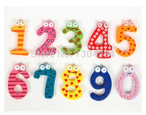 Lovely 10Pcs//set Number 0-9 Kids Wooden Fridge Magnet Child Educational Toy Hot