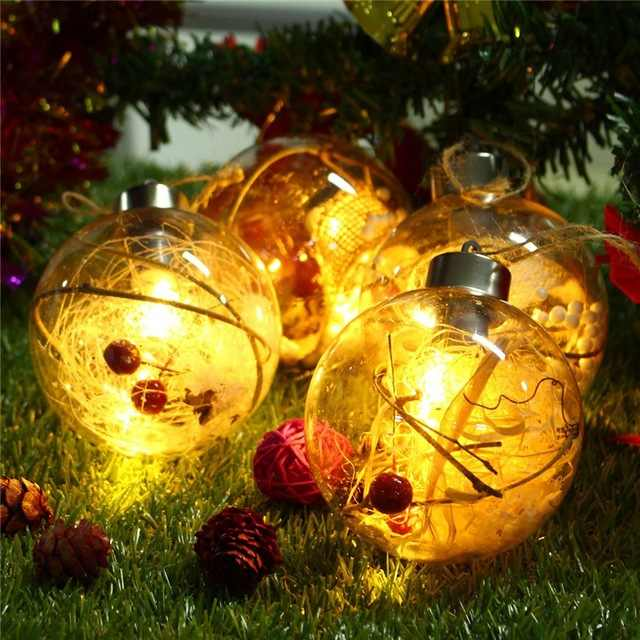 LED Bulb Christmas Ball Tree Decoration Fairy Light Clear Ball Hanging Ornament Garden Patio Xmas Festival Party Navidad Decor