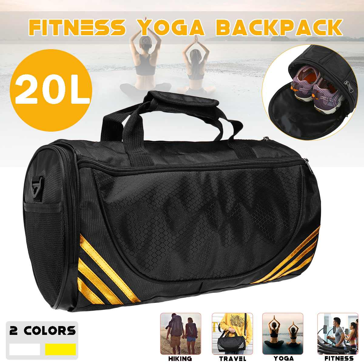 Polyester Gym Bag Sports Fitness Travel Yoga Shoulder Bag With Separated Shoes Compartment White Gold Resist Wear 45x25x24cm