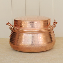 Pure handmade red copper soup rice noodle pot thickened stew pan household sauce pot stewpan health saucepan health raising pot is fully automatic and thickened glass