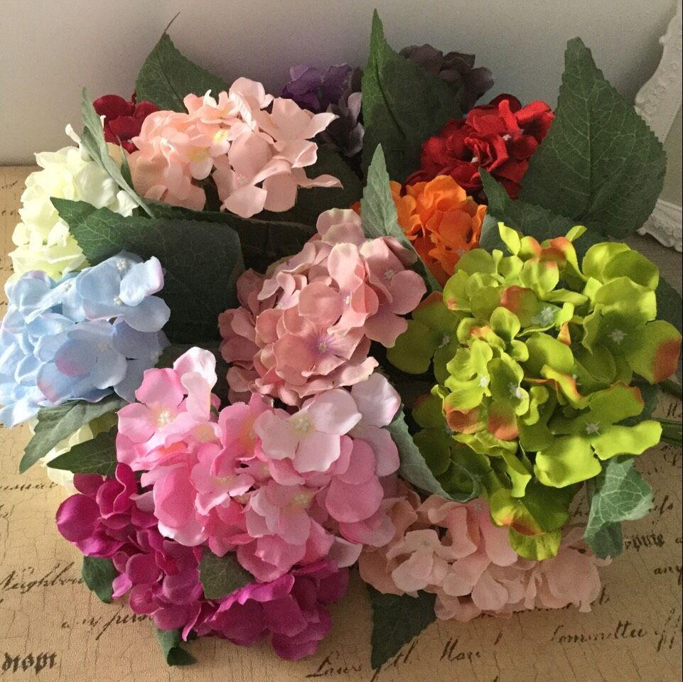 1pc 37cm umetna hortenzija umetno cvetje z zamrznjenimi velikimi - Prazniki in zabave - Fotografija 3
