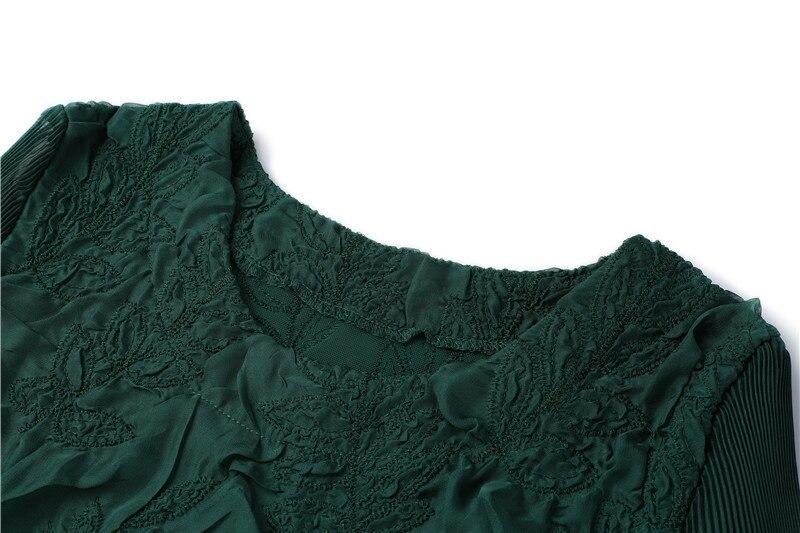 Haute qualité printemps robe femmes 2019 mode pétale manches lâche tenue décontractée femmes vêtements vert robe Dames Jurken Vestido - 6