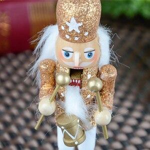 Image 5 - 15 sztuk 12cm drewniany dziadek do orzechów żołnierz Model figurki lalek lalki rzemieślnicze dla dzieci prezenty boże narodzenie dekoracje do domowego biura wyświetlacz