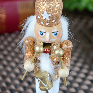 Image 5 - 15Pcs 12cm Wooden Nutcracker Solider Figure Model Puppet Doll Handcraft for Children Gifts Christmas Home Office Decor Display