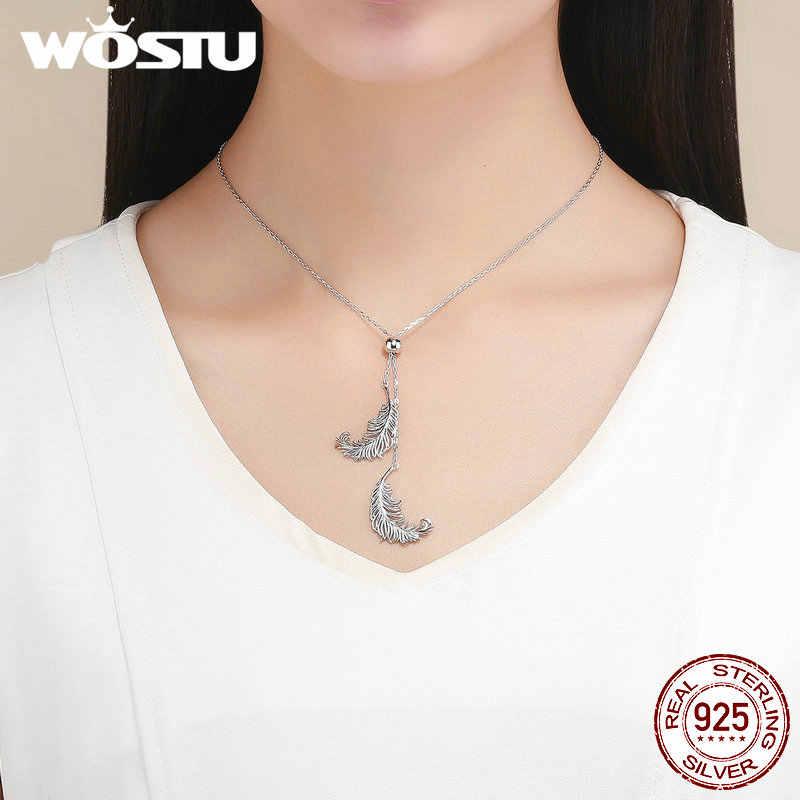 WOSTU Vendita Calda 100% 925 D'argento Della Piuma Collane con pendente Regolabile A Lunga Catena Per Le Donne di Lusso Dei Monili di Stile CQN322