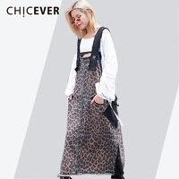 CHICEVER Dresses For Women Loose Oversize Sleeveless Leopard Hit Colors Summer Long Strap Dress Female 2018 Fashion Tide New