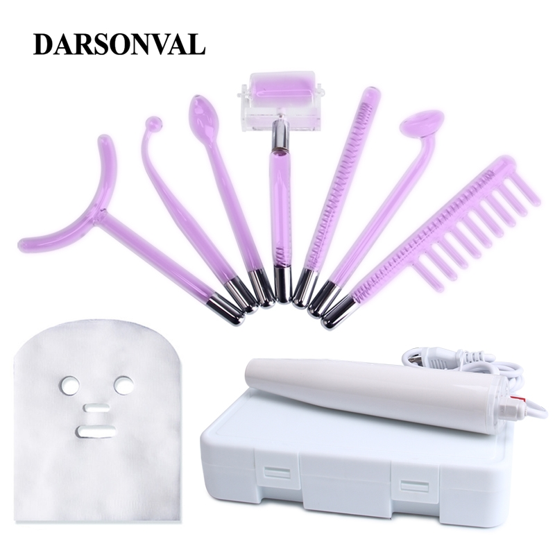 DARSONVAL High Frequency Device Portable Facial Machine Violet Ray Purple Light Electrode Wand 7 Tubes Skin Care Face Massager