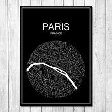 Gran oferta, mapa de ciudades del mundo redondo de París, cartel Retro Vintage, pegatinas de papel para pared, café, Bar, Pub, decoración para sala de estar, hogar