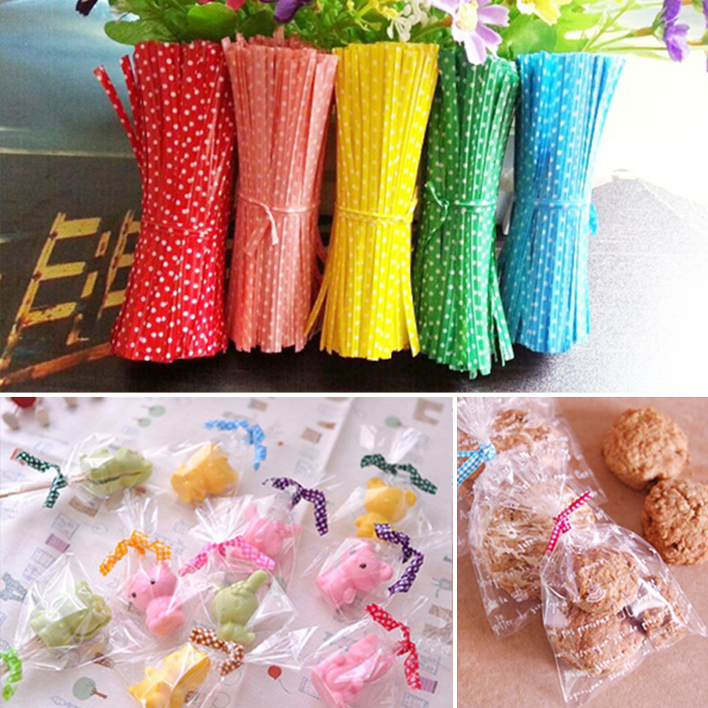 100PCS/Bag Ribbon Wrap Tie PVC Ligation For Cellophane Candy Cookie Gift Bag Pouch In Wedding Party Decoration