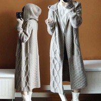 Autumn Womens Knitted Casual Long Sweater Cardigan Coats Outwear