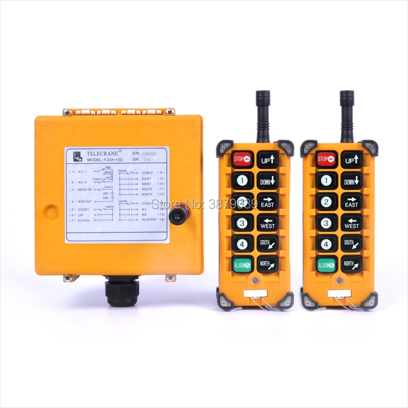 TELECRANE F23-A++ (2 Transmitters+1 Receiver) Industrial Wireless Radio Single Speed 10 Buttons Remote Control for Crane telecrane industrial wireless radio single speed 8 buttons f21 e1b remote control 1 transmitter 1 receiver for crane