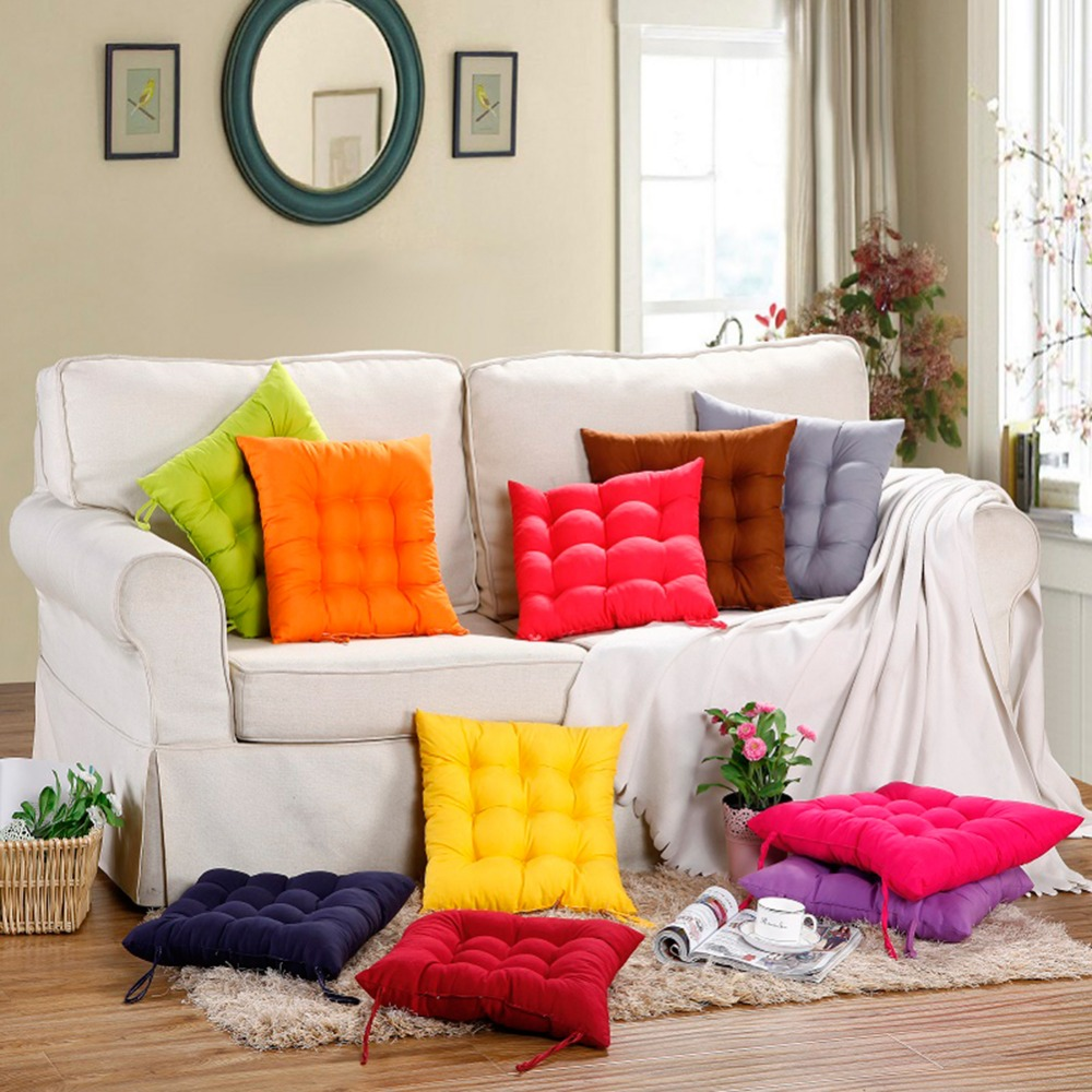 Soft Home Office Square Pearl Cotton Cushion Comfortable Sitting Pillow Buttocks Chair Cushion Strap Decor Winter Seat Cushion22
