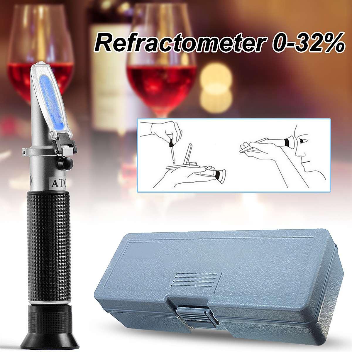 Sugar Concentration Alcohol Refraktometer 0-32% Brix Measurement Range Handheld Refractometer For Grape Wine Beer Analysis Meter