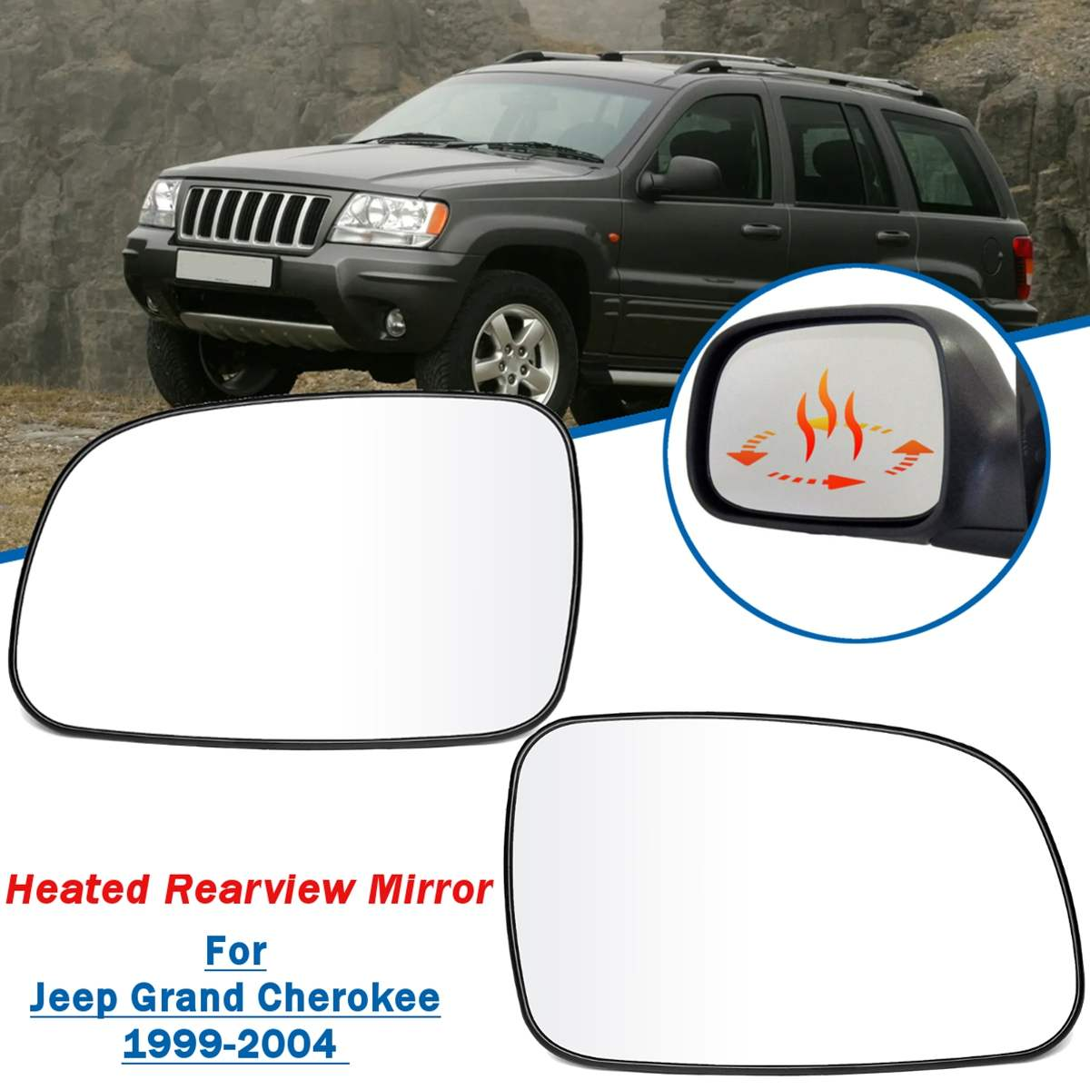 For Jeep Grand Cherokee 1999 2000 2001 2002 2003 2004 With Heated Function Car Left Right Side Rearview Wing Mirror Glass Lens