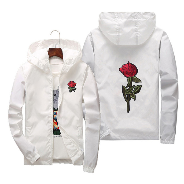 bc3f8a60cd93 Spring Summer Fashion Basic Jacket Windbreaker Men Women Child Parentage  Clothes Embroidery Rose Flower College Jackets