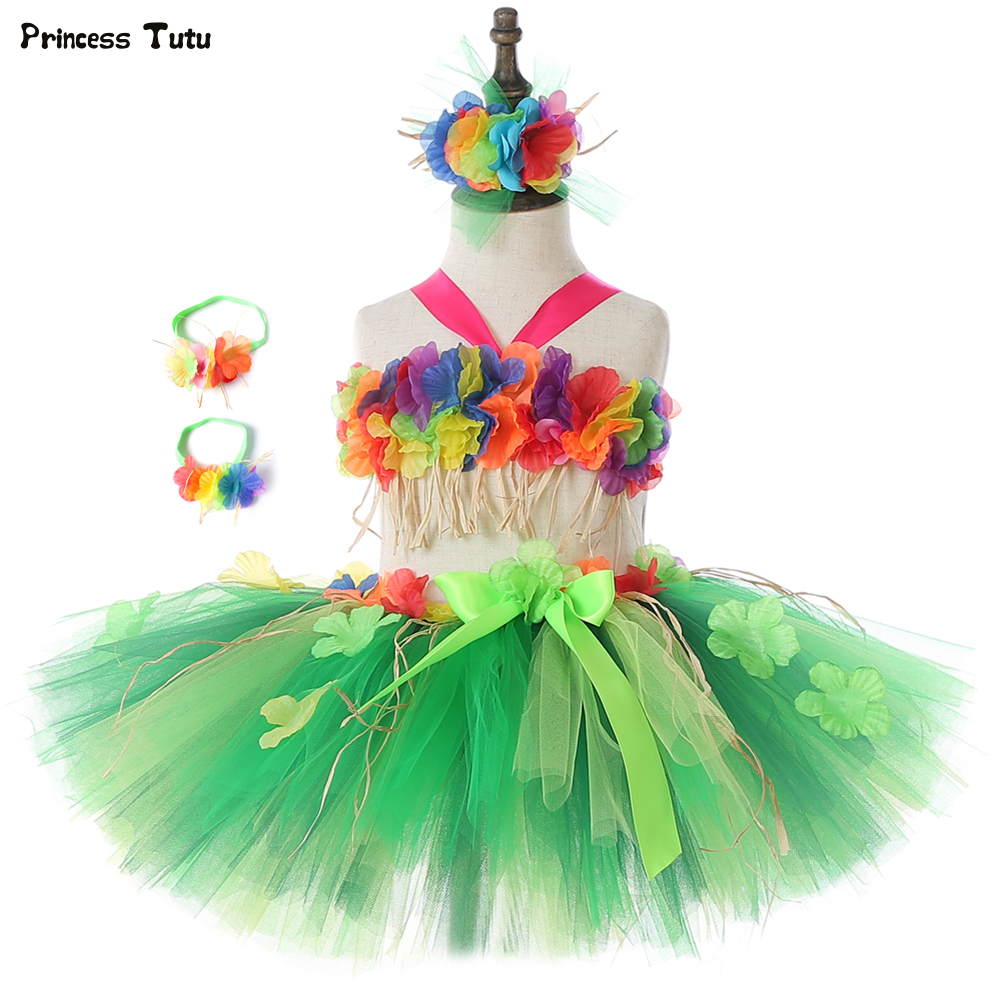 Hawaii Hula Flowers Girls Tutu Skirt Set Fluffy Children Kids Carnival Birthday Party Skirt Outfits Girls Performance CostumesHawaii Hula Flowers Girls Tutu Skirt Set Fluffy Children Kids Carnival Birthday Party Skirt Outfits Girls Performance Costumes