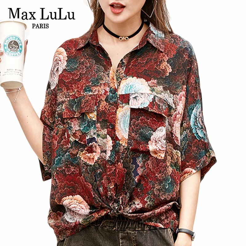Max LuLu 2019 Summer Luxury Vintage Chinese Clothes Ladies Floral Tops And Blouses Womens Oversized Shirts Short Sleeve Blusas