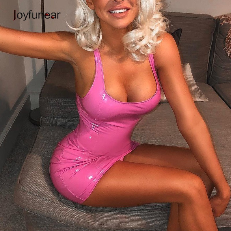 Joyfunear 2019 Pink Pu Leather Dress Sexy Bodycon Party Tank Dress Women